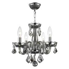 worldwide lighting clarion collection 4 light polished chrome smoke crystal chandelier