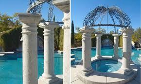 concrete exterior hardscape landscaping design using architectural columns paving architectural trim