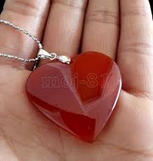new fashion women s natural red jade gemstone heart shape pendant necklace