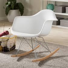 baxton studio dario mid century white plastic finished rocking chair