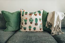 throw pillows and blanked on couch