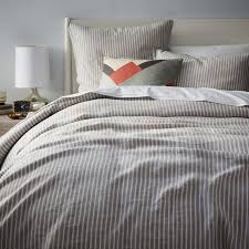 amazing striped belgian flax linen king shams west elm inside grey linen duvet cover