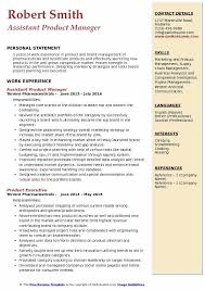 Product Manager Resume Pdf Assistant Product Manager Resume Samples Qwikresume