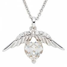 saint francis crystals silver heart angel wings swarovski element necklace