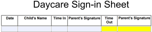 daycare sign in and out sheet daycare sign in sheet template eforms free fillable forms