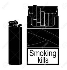 使い捨てガスライターを開いてタバコのパック分離された黒と白のイラスト