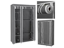 clevr 69 portable closet storage organizer wardrobe clothes rack shelves grey