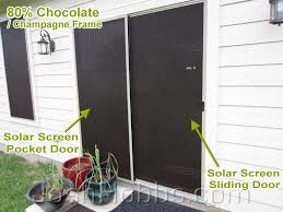 this is a picture of a solar screen sliding door and a solar screen pocket door the solar screen sliding door slides on the track that your cur insect
