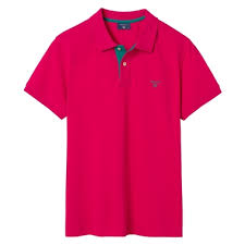 gant contrast collar pique short sleeve rugby shirt for men in rose red