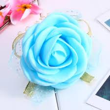 Heb Corsages 5 Colors Wrist Flower Rose Silk Ribbon Bride Corsage Hand Decorative Wristband Bracelet Bridesmaid Curtain Band Clip Bouquet