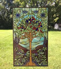 details about 20 x 34 large handcrafted stained glass window panel tree of life