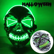 Light Up Skull Mask Greasmart Halloween Led Scary Mask Skeleton Mask Light Up Cosplay Costume Mask El Wire Glow In The Dark Masks For Halloween Festival Party Supplies