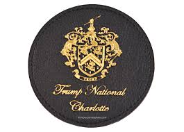 trump national charlotte coasters faux leather coasters with gold foil stamped logo and non skid faux rubber bottom