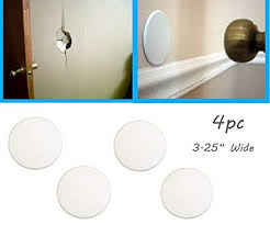 4pc alazco door wall protector shield plates round white self adhesive prevents holes on wall
