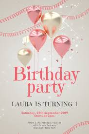 Girl Birthday Invitation Template Pink Baby Girl Birthday Party Invitation Template Postermywall