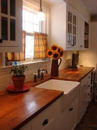 wood countertop with farmhouse sink