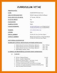 2 3 Latest Format Of Curriculum Vitae Download Artresumeexamples Com