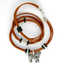 leather wrap bracelet with maltipoo sterling dog charm