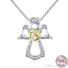 whole guardian angel charm s925 sterling silver necklace and pendants jewelry for women lover gift pendant necklace choker valentine s day handmade