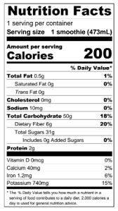 Booster Juice Nutrition Chart Booster Juice Nutrition