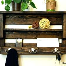 wood wall mounted mail organizer key rack hanging and bill hooks pallet holder h