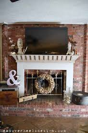 head over heels tv on a brick fireplace a whitewashed mantle makeover how