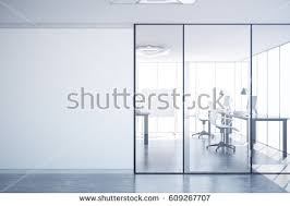 interior glass office doors. Modern Simple Office Interior With Glass Doors, Blank Wall Copy Space, City View Doors