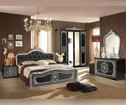 Tuttomobili Alice Black And Silver Finish Bedroom Set With 4 Door Wardrobe