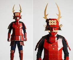 the kacchu cardboard samurai armor is available in two styles bright red armor based on famed warrior sanada yukimura s iconic outfit complete with
