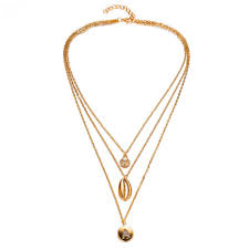 creative multilayer shell letter a pendant necklace 1pc