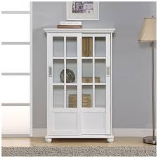 white bookcase with sliding glass doors