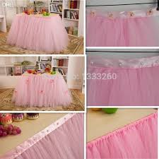 cool tulle tutu table skirting designs for table skirt with ribbon and pearls small flowers with table skirting images