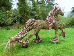 garden decoration. Wonderful Garden Decoration Using Willow Sculptures : Lovely Areas With Giant Horse
