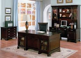 home office decor brown. Office:Good Looking Home Office Decor Ideas With Elegant Dark Brown Wooden Cabinet Shelves Also P