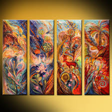 four elements air water earth and fire painting by elena kotliarker artmajeur