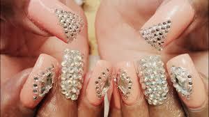 Gel Nail Designs With Diamonds Fancy Gel Color Diamond Nail Art Designs Tutorial