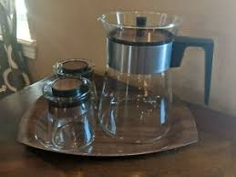 This vintage pot is in very good condition, and still capable of making 4 to 8 cups of real brewed coffee for you. Vintage Mid Century Pyrex Coffee Carafe Cream Sugar With Tray Ebay