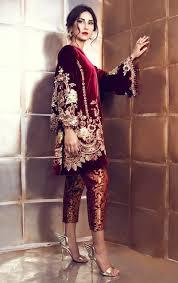 Pakistani Designer Dresses In Toronto Maroon Velvet Suit With Pakistani Pant Pakistani Designer