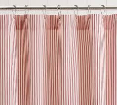 ruffled ticking stripe shower curtain red