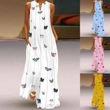 Women Ladies Fashion Butterfly Printed <b>Maxi</b> Shift <b>Dress Summer</b> ...
