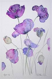 art watercolor painting of purple poppies by artist amanda hawkins 14x22cm fl original artwork flowers cottage garden contemporary art