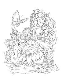 Butterfly Fairy Rose Coloring Pages Colouring Adult Detailed
