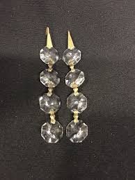 vintage pair chandelier parts octagon crystal glass prisms jewelry 1 of 2