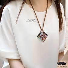 women handmade artistic glass big pendant necklace