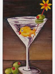 martini glass painting with olives and gold fish in the martini