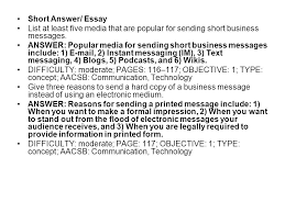 chapter crafting messages for electronic media ppt video  short answer essay list at least five media that are popular for sending short business