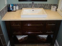 semi recessed vessel sink bathroom contemporary with none