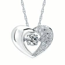 brilliance in motion 14k white gold 34 ctw dancing diamond heart pendant necklace 18 com