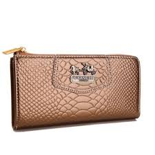 Canada Coach Shop Madison Continental Zip In Croc Embossed Large Bronze Wall