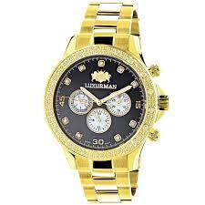 dial yellow gold plated luxurman diamond watch for men 0 2ct new black dial yellow gold plated luxurman diamond watch for men 0 2ct new main